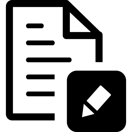 Icono de un documento y un lápiz (contratos)
